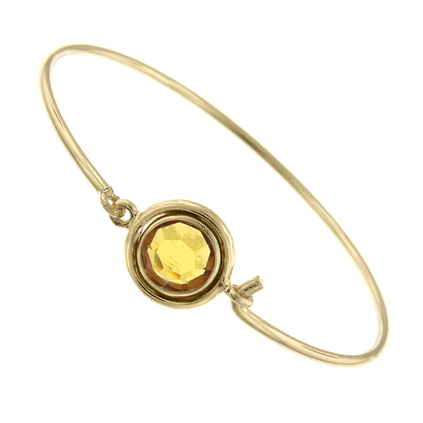 Gold-Tone Light Topaz Swarovski Crystal Bangle