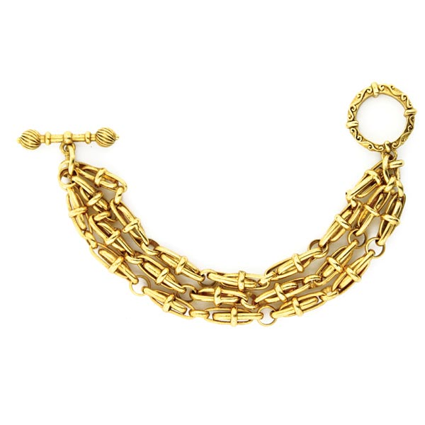 Antiquities Couture Gold-Tone Three Tier Chain Toggle Bracelet