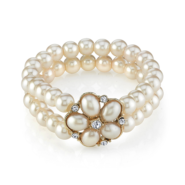 Gold-Tone Faux Pearl Crystal Flower Stretch Bracelet