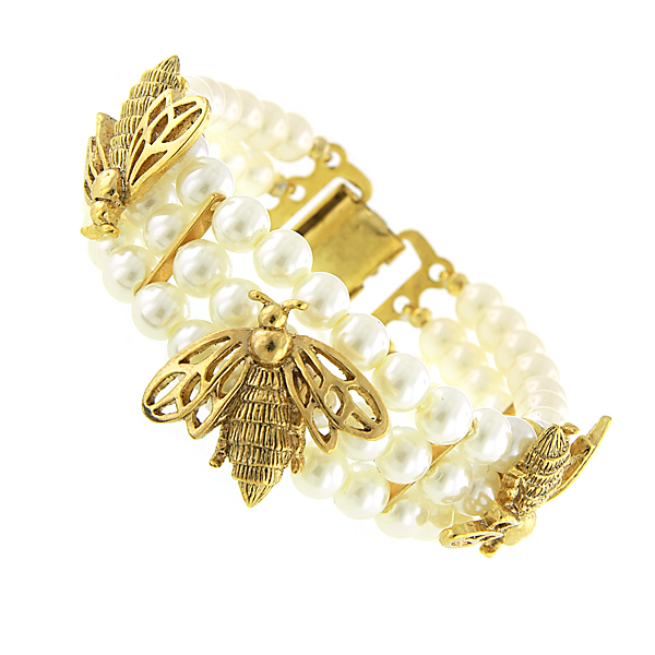 Antiquities Couture Gold-Tone Faux Pearl Triple Strand Bumble Bee Clasp Bracelet