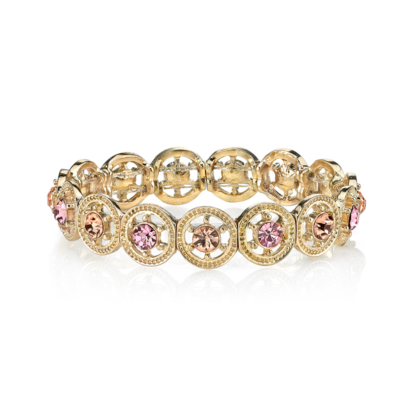 2028 Luxe Pastels Gold-Tone Pink Crystal Stretch Bracelet