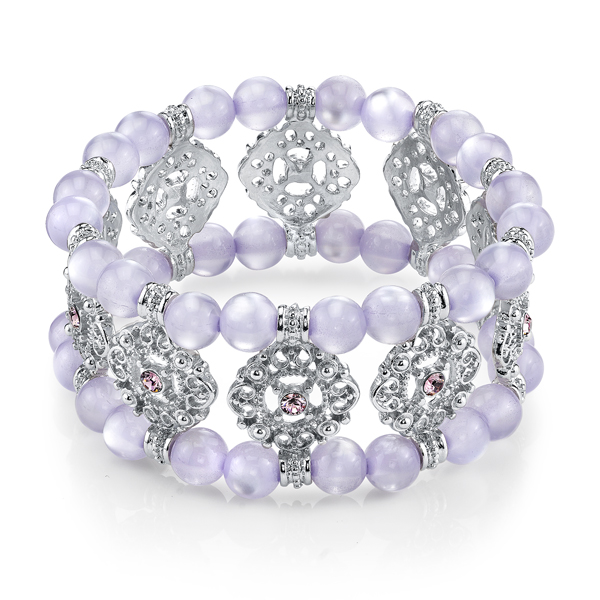 Silver-Tone Lavender Beaded Stretch Bracelet