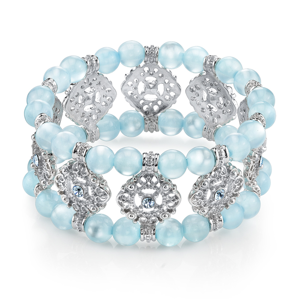 Silver-Tone Light Blue Stretch Bracelet