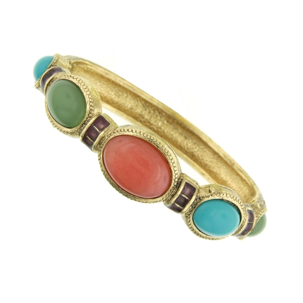 Signature Gold-Tone Multi- Color Stretch Bangle Bracelet
