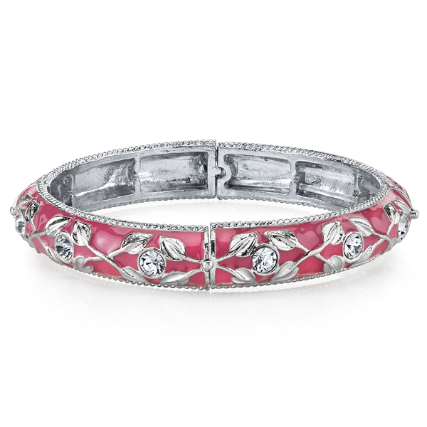 2028 Silver-Tone and Pink Crystal Accent Enamel Stretch Bracelet