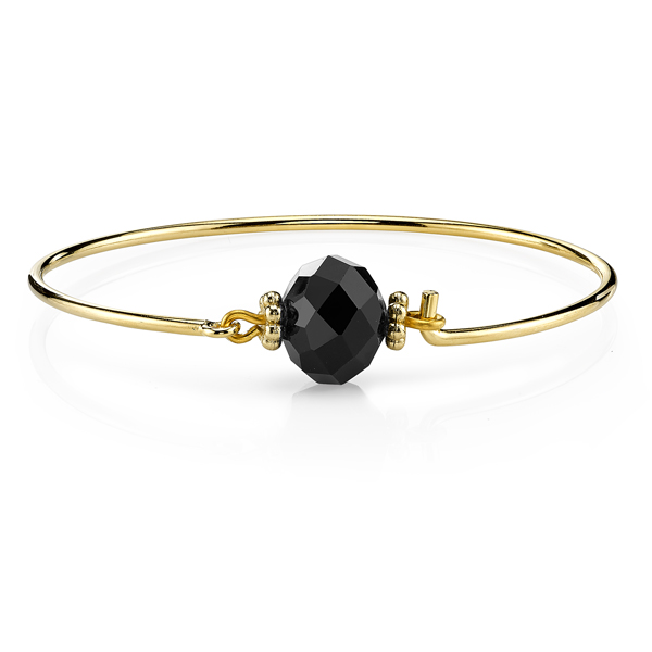 2028 Gold-Tone Jet Black Wire Bracelet