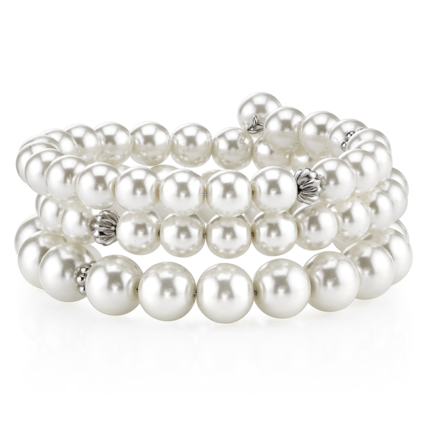 2028 Silver-Tone White Faux Pearl and Crystal Coil Bracelet