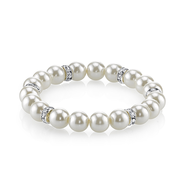 2028 Silver-Tone White Simulated Pearl and Crystal Stretch Bracelet