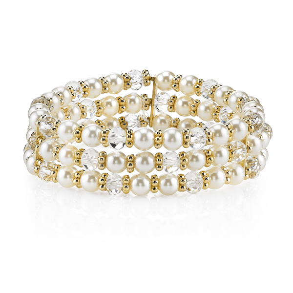2028 Gold-Tone Faux Pearl and Crystal Three-Row Stretch Bracelet