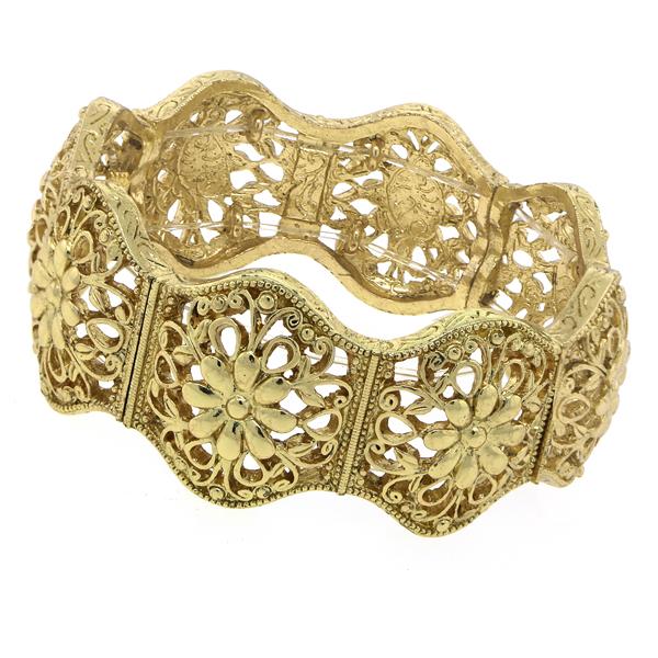 Suriname Gold-Tone Floral Filigree Stretch Bracelet