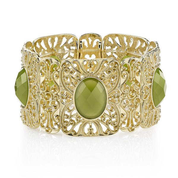 Suriname Gold-Tone Green Filigree Stretch Bracelet