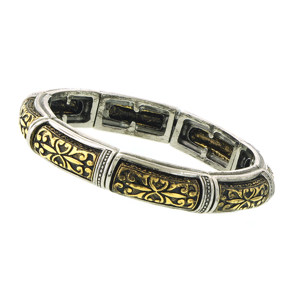 Alex Nicole® Alcazar Floral Motif Stretch Bracelet