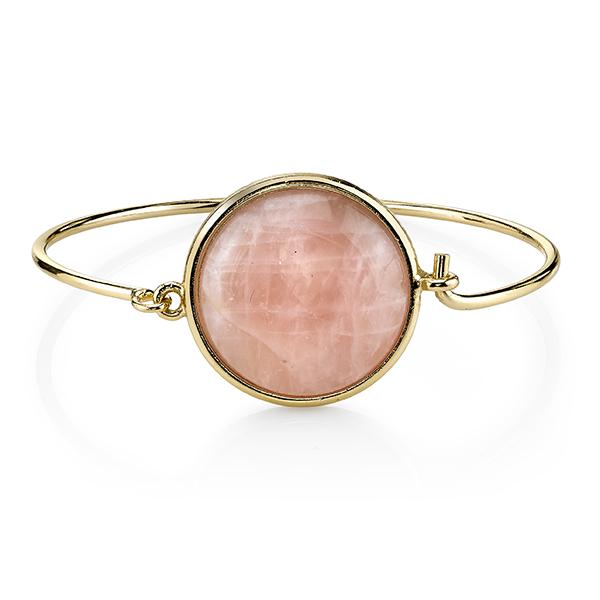 2028 Gold-Tone Semi-Precious Rose Quartz Bangle Bracelet