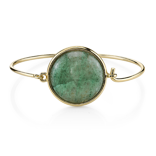 2028 Gold-Tone Semi-Precious Green Aventurine Bangle Bracelet