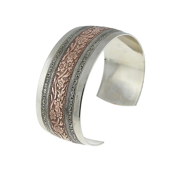 Silver-Tone and Rose Gold-Dipped Floral Cuff Bracelet