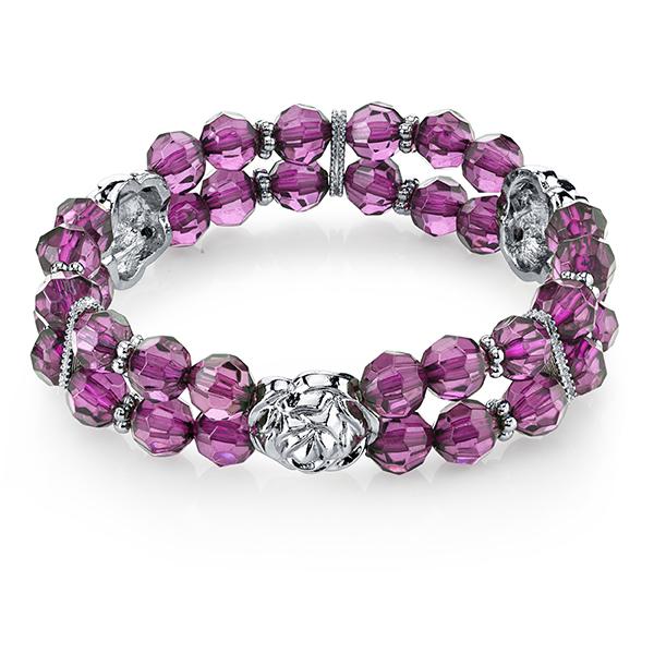 Tuileries Silver-Tone Purple Beaded Stretch Bracelet