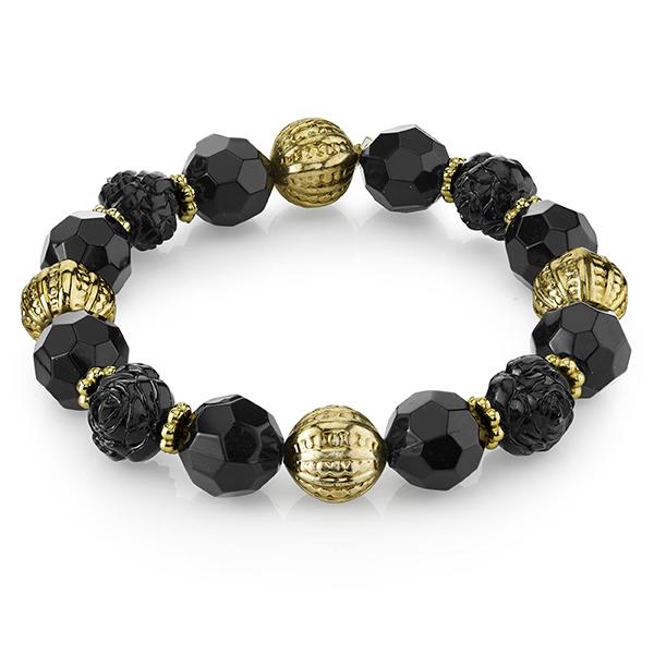Le Marais Florals Gold-Tone Black Beaded Stretch Bracelet