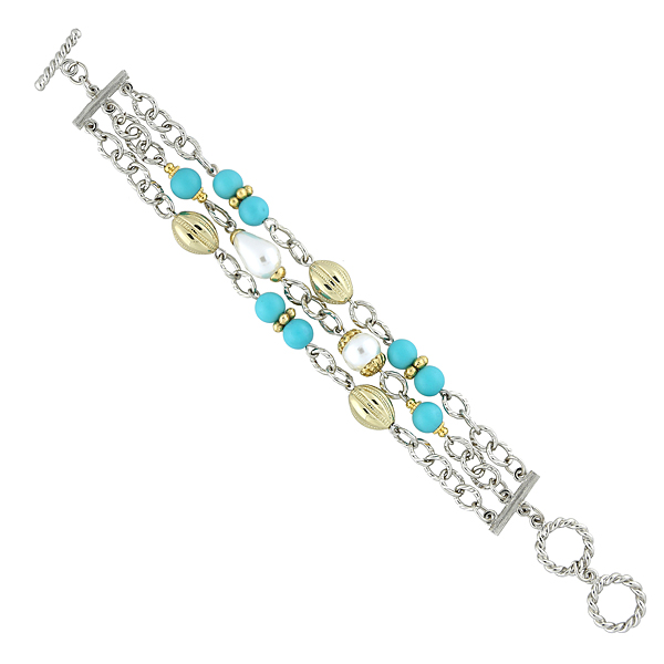2028 Palm Beach Silver-Tone Turquoise Bead Toggle Bracelet