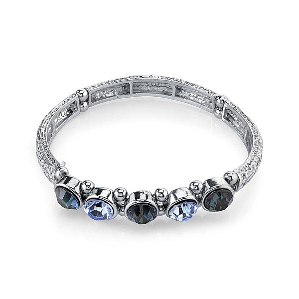 2028 Silver-Tone Blue Crystal Stretch Bangle Bracelet