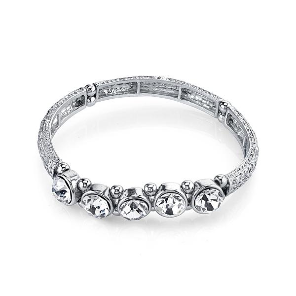 2028 Silver-Tone Crystal Stretch Bangle Bracelet