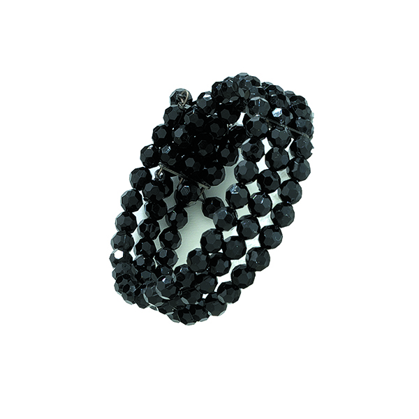 Black-Tone Black Three-Row Beaded Coil Bracelet