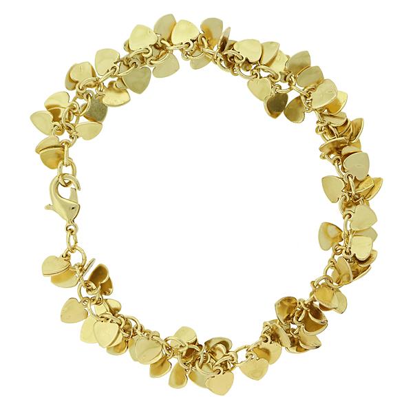 14K Gold-Dipped Cluster Heart Bracelet