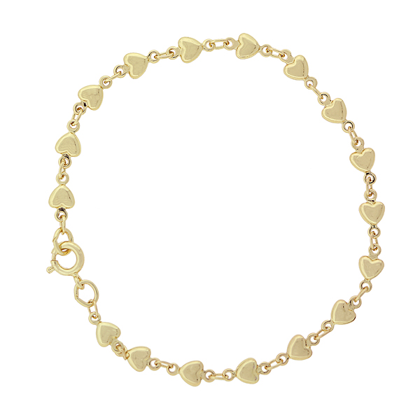 14K Gold-Dipped Station Heart Bracelet