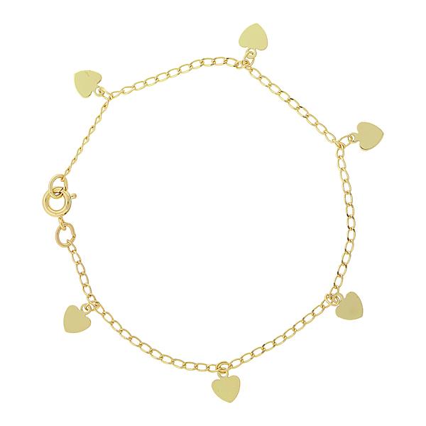 14K Gold-Dipped Heart Charm Bracelet