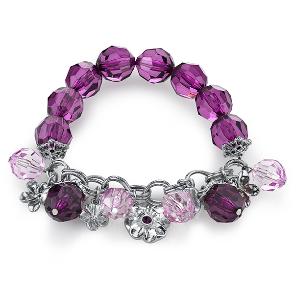 Radiant Orchid Silver-Tone Purple Beaded Charm Stretch Bracelet