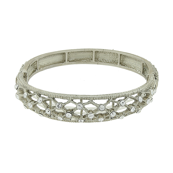 2028 Filigree Sparkle Silver-Tone Crystal Filigree Stretch Bangle Bracelet