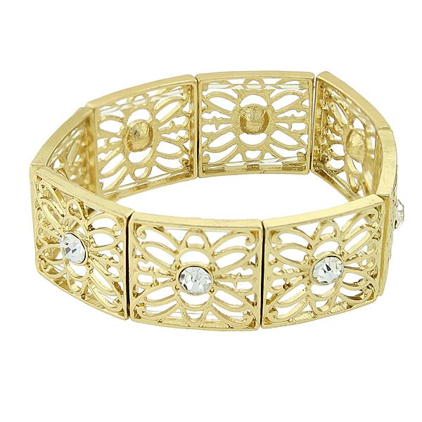 2028 Filigree Sparkle Gold-Tone Crystal Filigree Stretch Bracelet