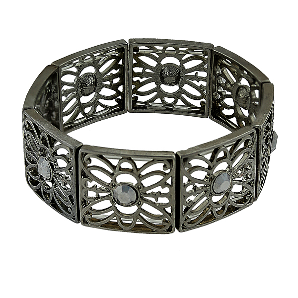 2028 Filigree Sparkle Black-Tone Hematite Crystal Filigree Stretch Bracelet