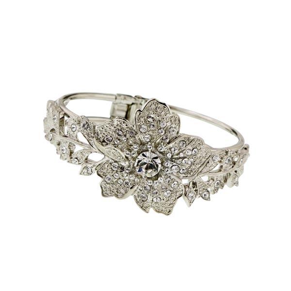 Silver Tone Vintage Floral Cuff