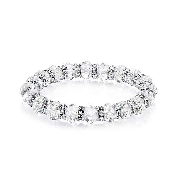 Silver-Tone Crystal Beaded Stretch Bracelet