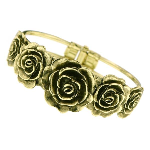 Vintage Brass Rose Cuff Bracelet
