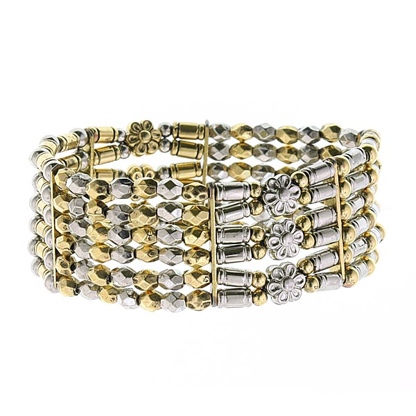 Metallic Heights Brass and Silver-Tone Beaded Bracelet