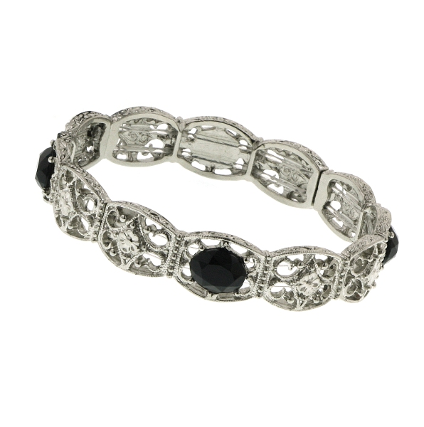 Florina Silver -Tone Ebony Filigree Bracelet