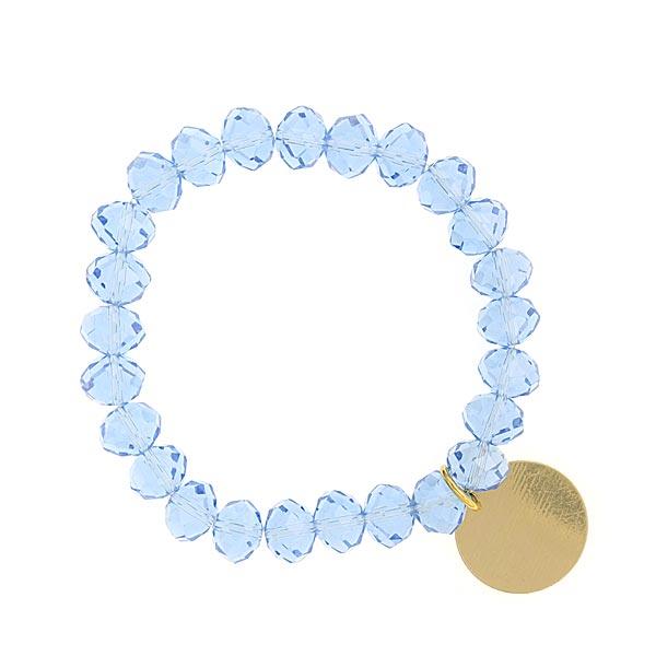 Light Blue Shimmer Beaded Engravable Charm Bracelet