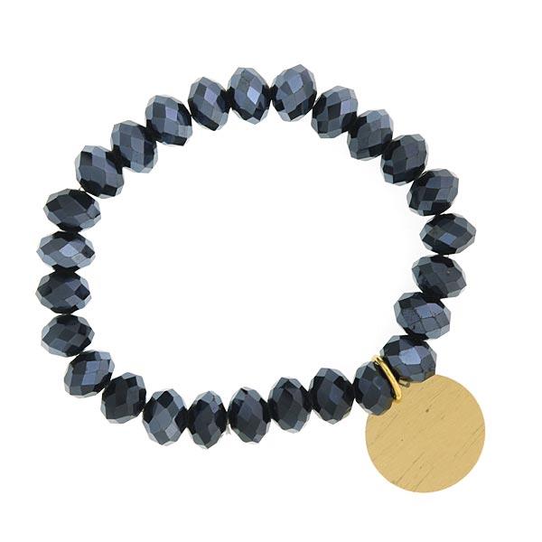Black Metallic Shimmer Beaded Engravable Charm Bracelet
