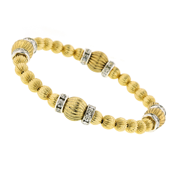 Signature Gold-Tone Textured Bead Stretch Bracelet