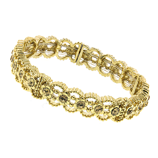 2028 Gold-Tone Light Brown Crystal Stretch Bracelet