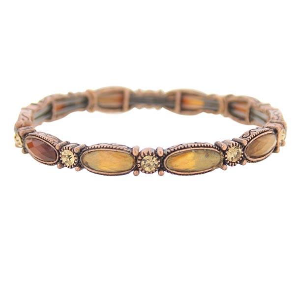 The Jennifer Topaz Crystal Stretch Bracelet in Honey