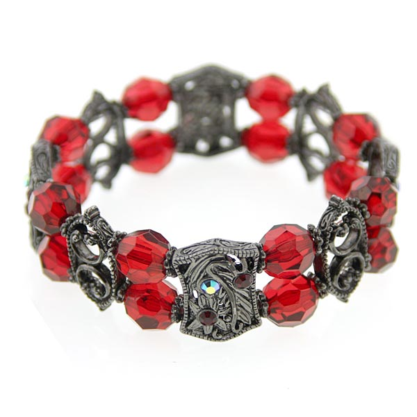 Unique Frames Hematite & Siam Hues Stretch Bracelet
