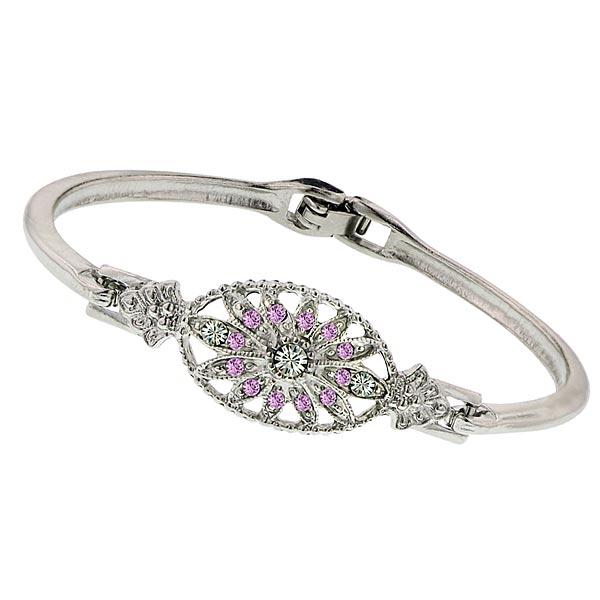 Art Deco Light Amethyst Floral Crystal Bracelet