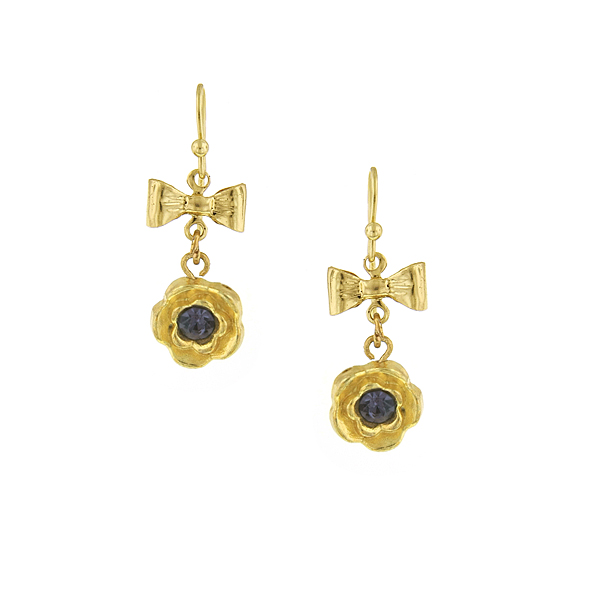 Gold-Tone Flower Crystal Bow Drop Earrings