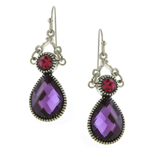 Silver-Tone Amethyst Purple Teardrop Earrings