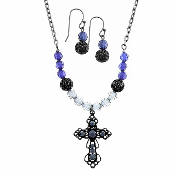 Jet-Tone Blue Beaded Cross Necklace and Earrings Set
