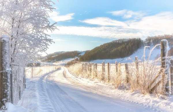 Обои на рабочий стол: Норвегия, дорога, снег, зима