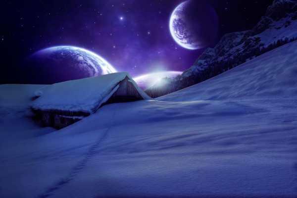 Обои для рабочего стола: зима, домик, сияние, art, горы ...