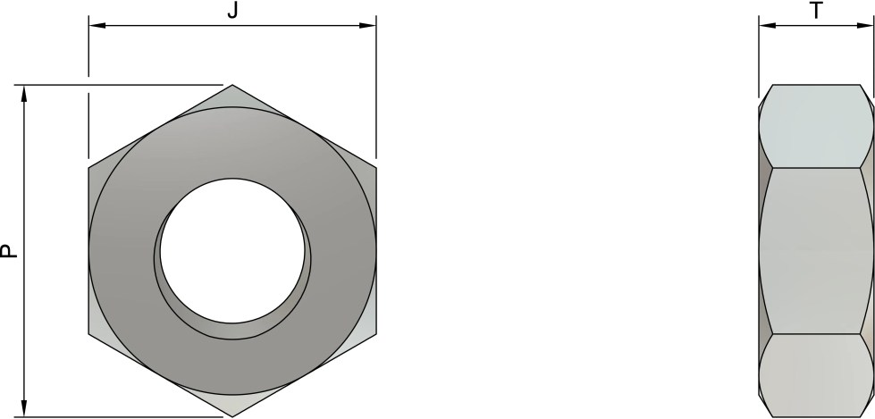 M10 Hexagon Nuts (DIN 934) - Stainless Steel (A2) Drawing